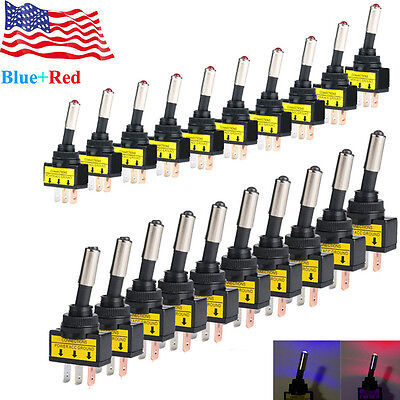 2 Colors 12v 20a Car Auto Led Light Toggle Rocker Switch 3pin Spst Onoff 20pcs