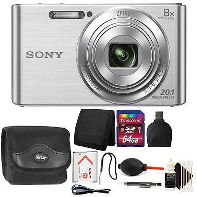 Sony DSC-W830 20.1MP Point and Shoot Digital Camera Silver + 64GB Accessory Kit