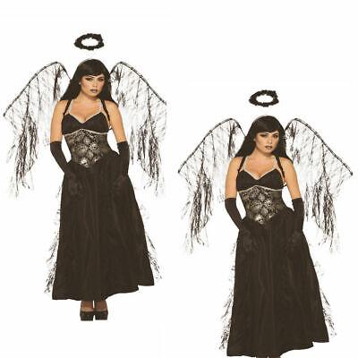 Damen Sexy Gothic Dunkel Gefallener Engel Kostüm Halloween Erwachsene Outfit
