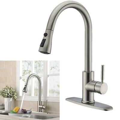 "Kitchen Sink Faucet Pull Out Sprayer Brushed Nickel Single Handle W/ 10"" Cover"
