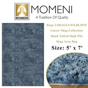 NEW Momeni Rugs LSHAGLS-01LBL5070 Luster Shag Collection, Hand Tufted High Pile Shag Area Rug, 5 x 7, Light Blue Co...