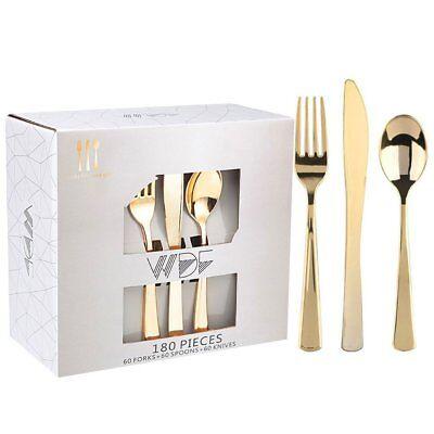 180 Pieces Disposable Plastic Gold Silverware Cutlery Shiny Metallic Flatware