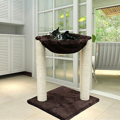 "20"" Cat Condo Multi-function Scratching Post Pet House Cat Tree with Hammock Bed"
