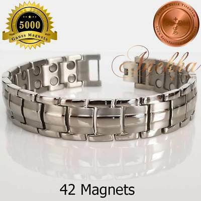 Cu+Bio PURE TITANIUM 42X 5000 Gauss MAGNETIC BRACELET MEN SILVER +ADJUSTER T03S