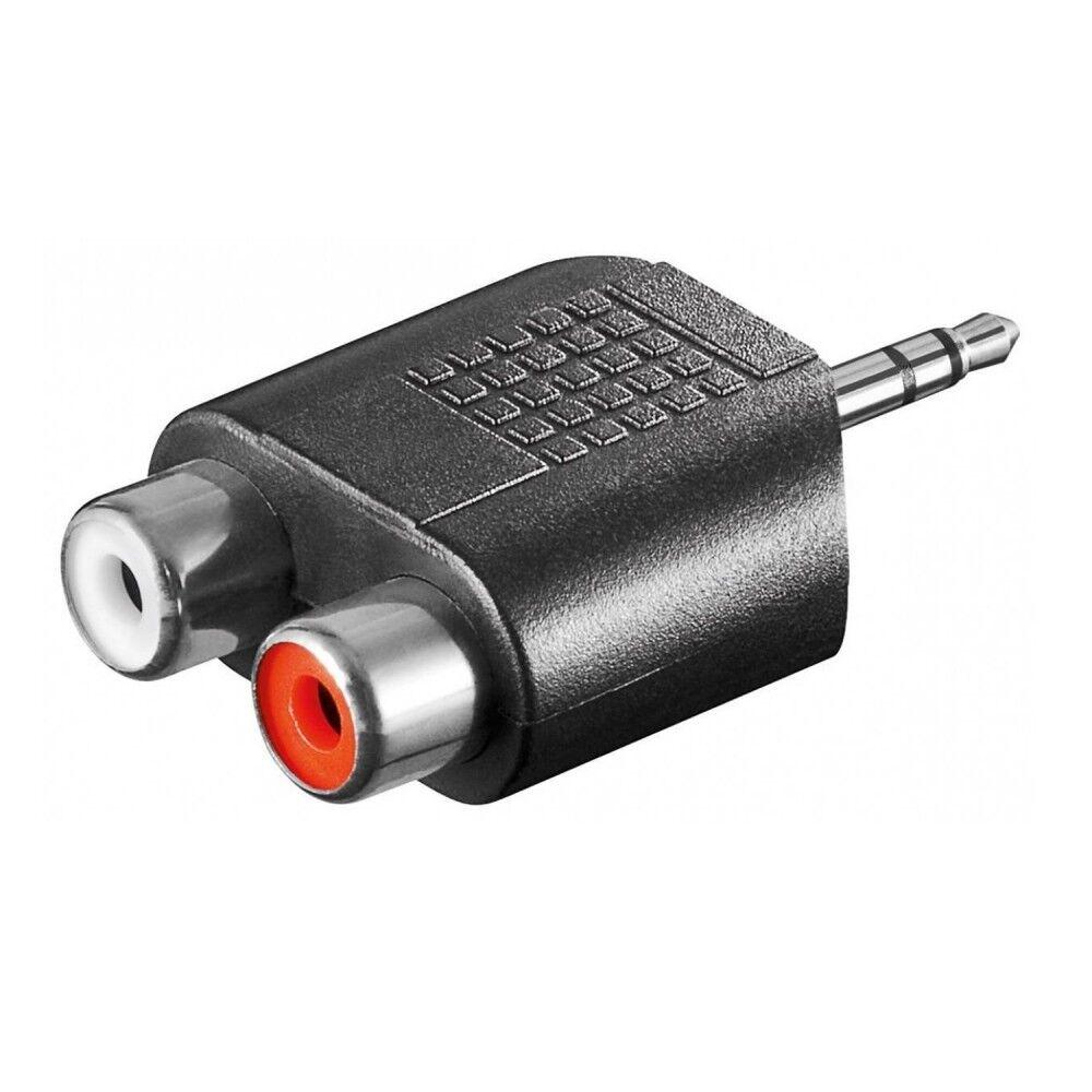 Audio Adapter 3,5mm Klinke Stcker Stereo auf 2 Chinch RCA Buchse Kupplung female