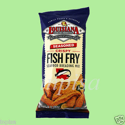 LOUISIANA FISH FRY 3 Bags x 10oz SEASONED CRISPY SEAFOOD BREADING (Breaded Fish)