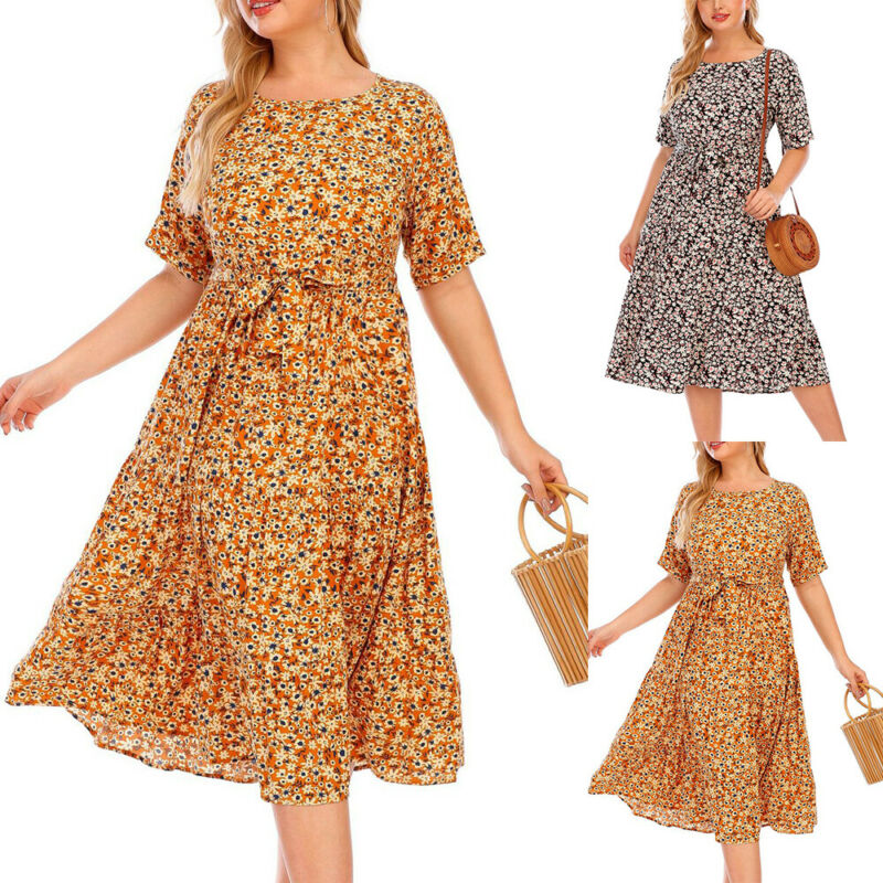 Women's Floral Printed Midi Dress Round Neck Pullover A-Line Dresses Plus Size Clothing, Shoes & Accessories