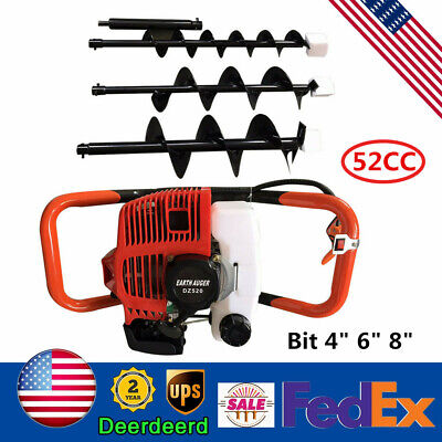 Earth Auger Head Hole Digger Machine 52cc Gasoline Gas Powered Drill 4 6 8bit