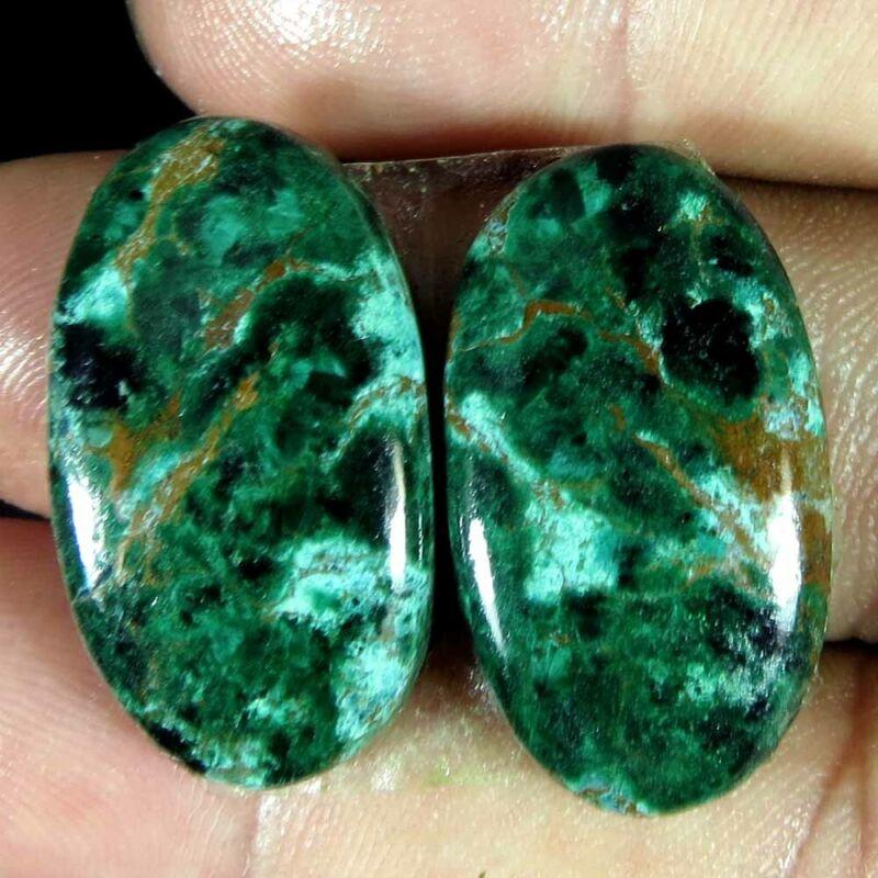38.90Cts 100% Natural super Chrysocolla oval Pair Cabochon Loose Gemstone