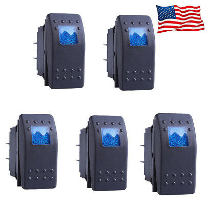 New 5pcs Waterproof Marine Boat Car Rocker Switch Spst On-off 4pin 4p Blue Led