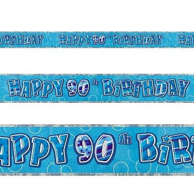 9ft Happy 90th Birthday Blue Sparkle Prismatic Party Foil Banner Decoration - 90th Birthday Party