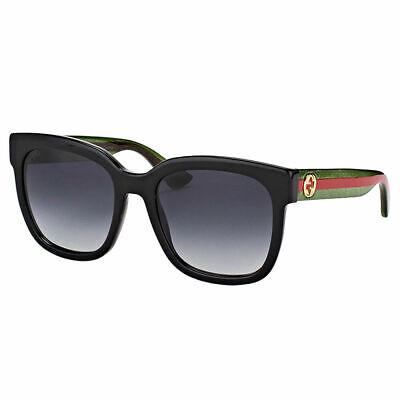 New Authentic Gucci GG0034S 002 Black Plastic Sunglasses Grey Gradient Lens