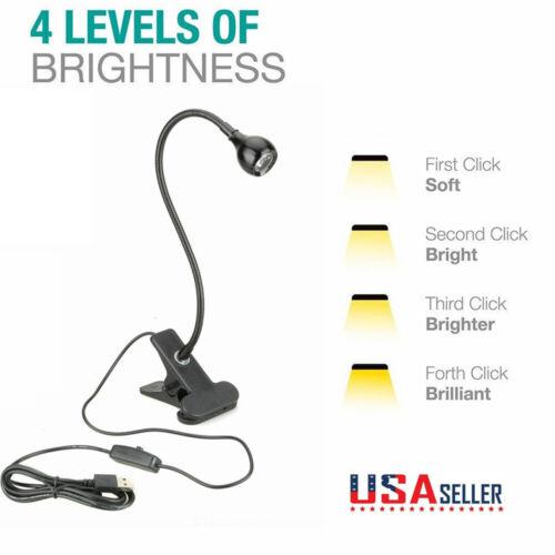 USB Flexible Reading LED Light Clip-on Beside Bed Desk Table