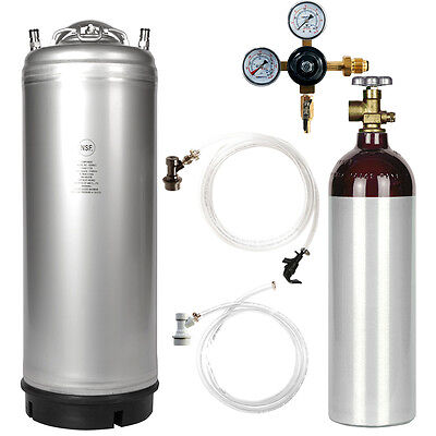 Stout Kegerator Kit 5 Gal Ball Lock Keg Nitrogen Tank Regulator - Ships Free