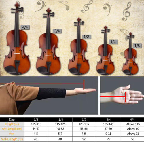Glarry Natural Acoustic Violin Kits Full Size 4/4 1/2 1/4 1/8 Case Strings Bow - $49.59