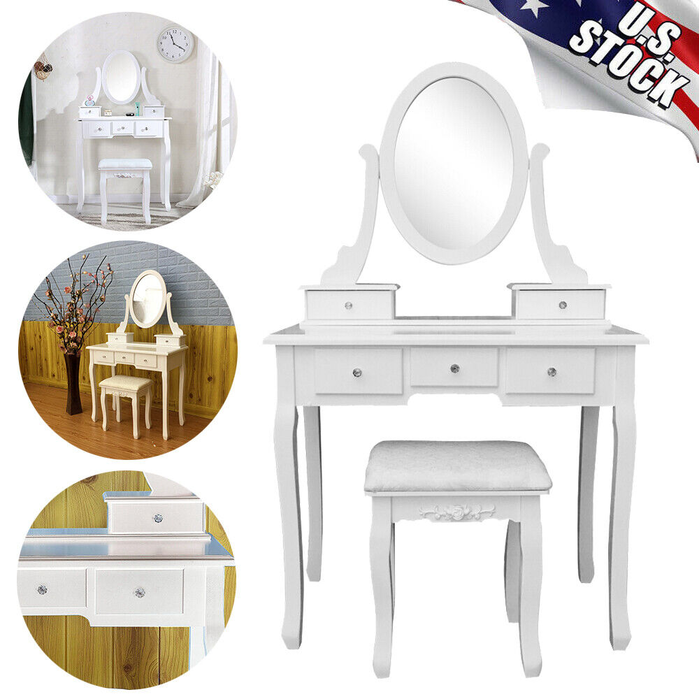 White Vanity Makeup Dressing Table Set With 360 Rotation Mirror Stool 5 Drawers Ebay