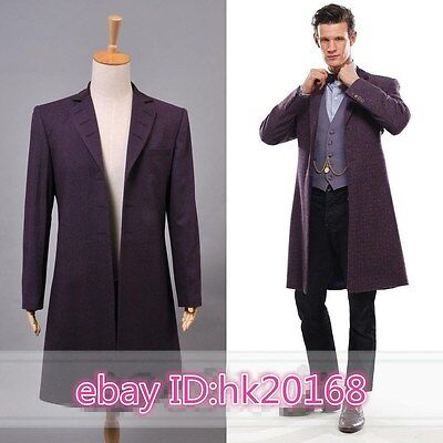 Doctor Who 11th Dr. Purple long Coat Halloween Cosplay Costume windbreaker n.144 - 11th Doctor Halloween Costume