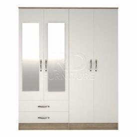 Classic 4 door 2 drawer mirrored wardrobe oak and white