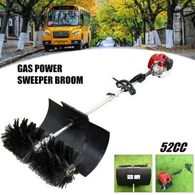 52cc Gas Power Hand Held Walk Behind Sweeper Broom Turf Lawns Driveway Cleaning