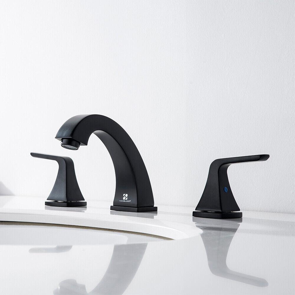 Widespread 8'' Bathroom Basin Sink Faucet 3 Hole Brass Mixer Tap w/ Pop Up Drain 12