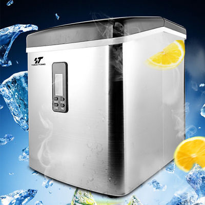 Stainless Steel Countertop Ice Maker Compact Cube Icemaker Machine 33lbsday