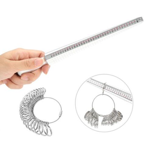 UK Standard Metal Ring Sizer Mandrel Finger Sizing Measure Stick Tool Ring Kit