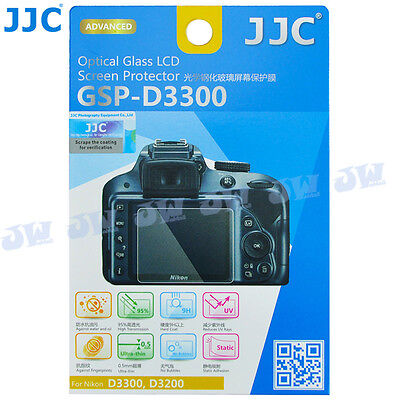 JJC Optical Tempered Glass Screen Protector for Nikon D3400 D3300 D3200 Camera