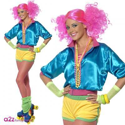 ostume 70s 80s Retro Neon Roller Disco Adult Fancy Dress  (Roller Girl Kostüm)