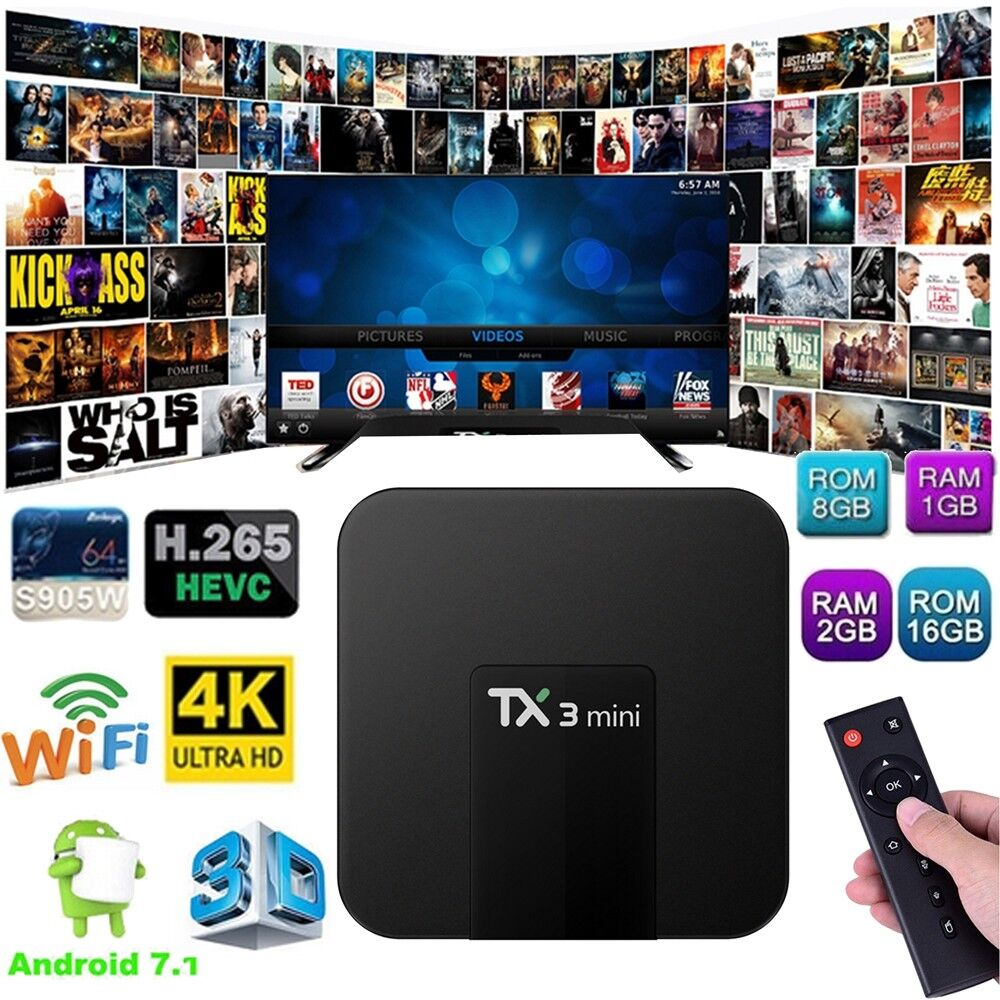 TX3 Mini TV Box WiFi Android 7.1 4K 2GB+16GB S905W Quad core
