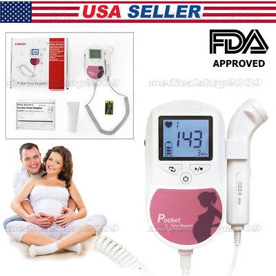 Pregnancy Pocket Fetal Doppler Baby Heart 3mhz Probe Gel Fhr Fetal Heartbeat