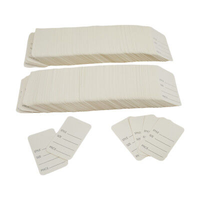 1000 Pcs Large White Merchandise Price Tags Clothing Perforated 1-3/4 x 2-7/8