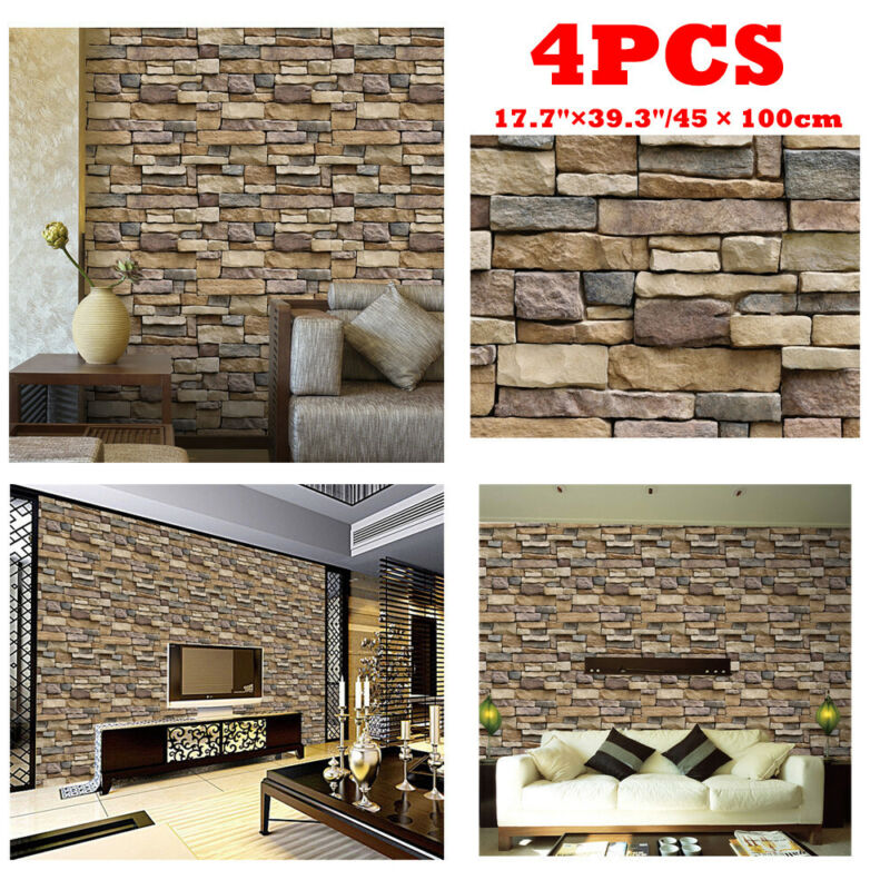 3D Brick Stone PVC Self Adhesive Wall Stickers Panel Wallpap
