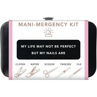 Trim Black Pink Nail Mani Emergency Grooming Kit Clippers Scissor Tweezer File (Grooming Kit Tweezer)