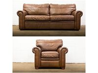 NICE QUALITY FURNITURE GENUINE BROWN LEATHER SOFA & ARMCHAIR SUITE FREE DELIVERY