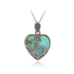 Sterling Silver Marcasite Turquoise Heart Necklace, 18