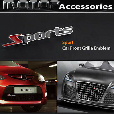 SPORTS Logo 3D Metal Sports Racing Front Hood Grille Badge Emblem Car Decoration