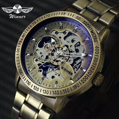 ische Edelstahl Vintage mechanische Skelett Armbanduhren DE (Skelett Arm)