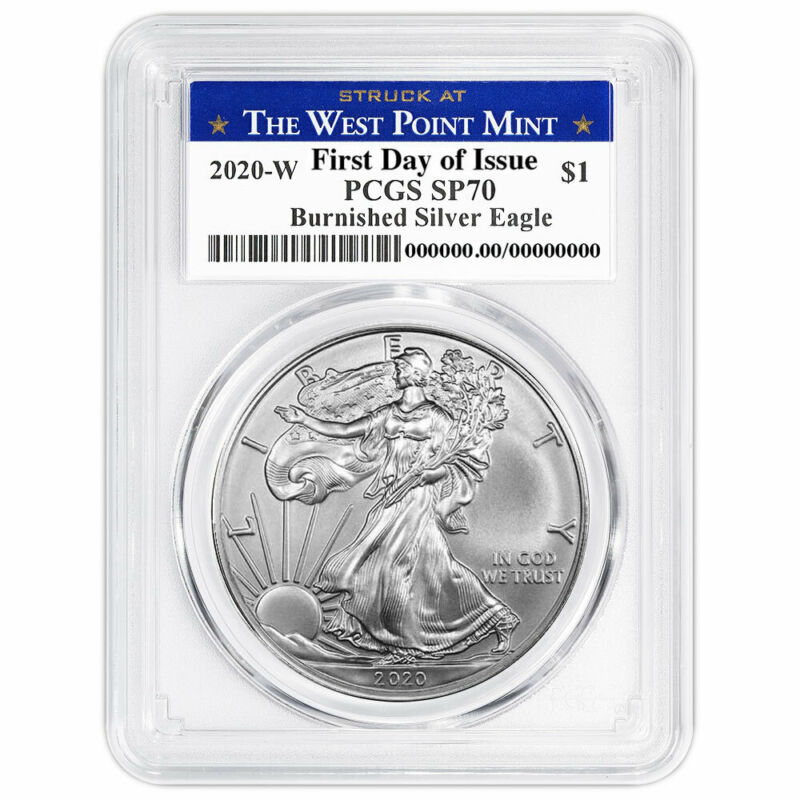 Presale - 2020-W Burnished $1 American Silver Eagle PCGS SP70 FDOI West Point La