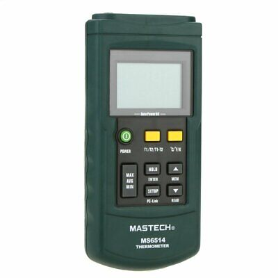 Mastech Ms6514 Digital Thermometer Dual-channel Temperature Sensor Usb Interface