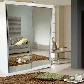 SAME DAY DELIVERY**BRAND NEW DOUBLE DOOR MIRROR SLIDING WARDROBE WITH LED LIGHT IN BLACK WHITE COLOR