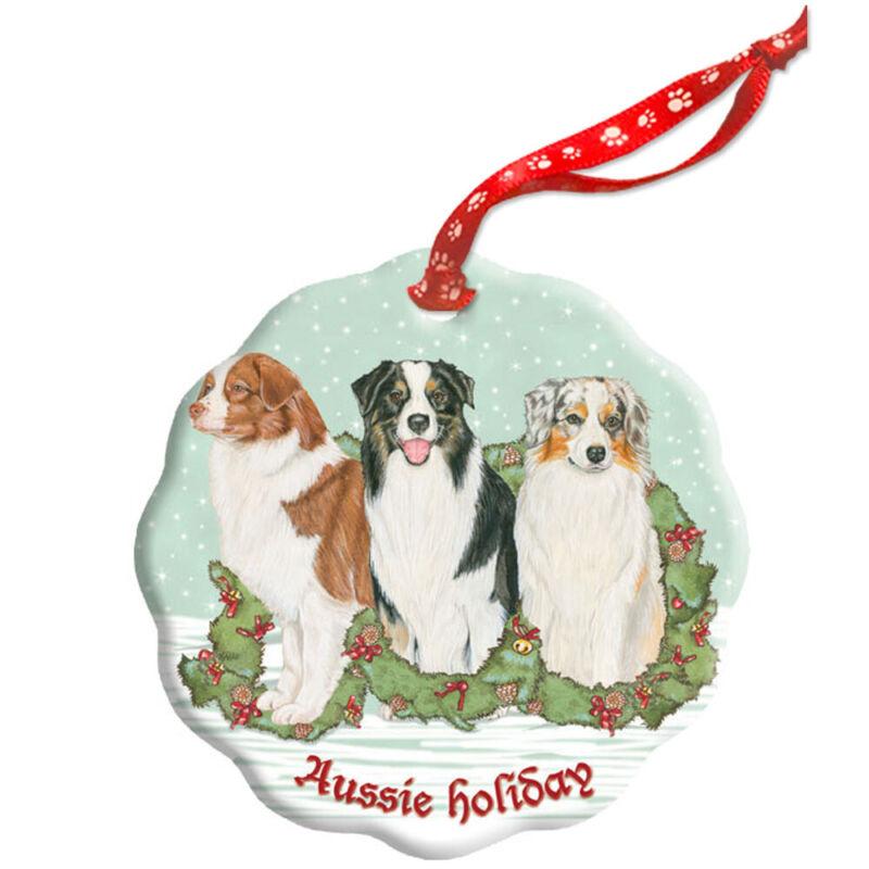 Australian Shepherd Holiday Porcelain Christmas Tree Ornament