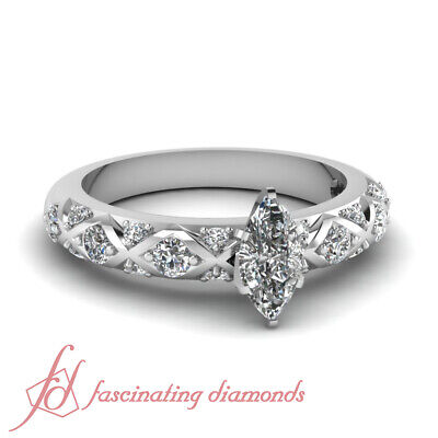 1.25 Ct Marquise Cut VS1 Diamond Engagement Ring Pave Set 14K Gold GIA Certified