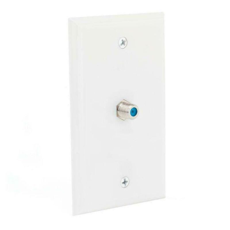 Coaxial RG6 Keystone F81 Single Jack Wall Plate White Cable TV