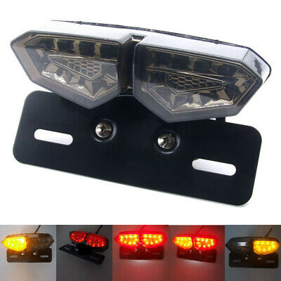 - Motorcycle Smoke LED Twin Tail Turn Signal Brake License Plate Integrated Light