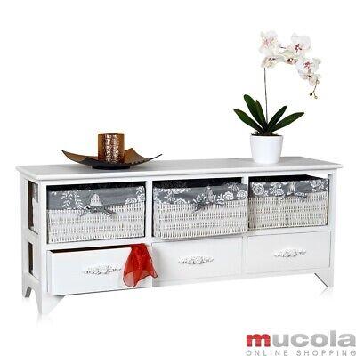 Lowboard Landhaus Kommode Schrank Sideboard Flur Bad Regal 3 Körben weiss grau