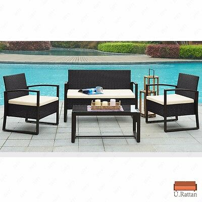 4PC Rattan Wicker Patio Furniture Set Sofa & Table Cushioned Lawn Garden Outdoor