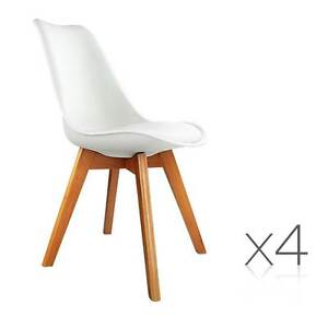 Set of 4 Dining Chair PU White Melbourne CBD Melbourne City Preview