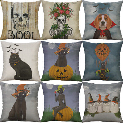 Cartoon Cat Halloween Pattern Cotton Linen Cushion Cover Pillow Case Home - Halloween Cartoon Cats