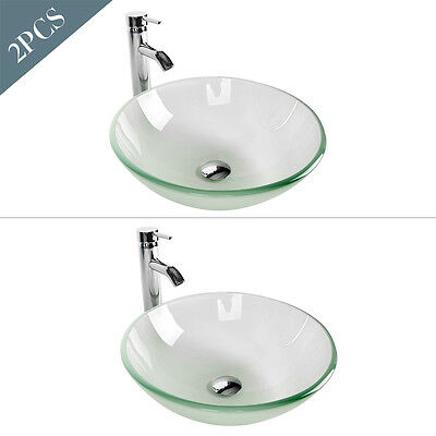 Set of 2 Bathroom Vessel Sink Tempered Frosted Glass Bowl Round Basin Faucet New