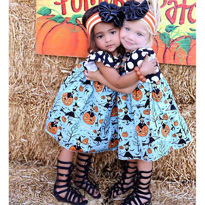 Halloween Toddler Kids Girls Pumpkin Cartoon Princess Dress Outfits Clothes USA - Halloween Toddlers
